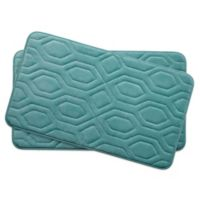 Bounce Comfort Turtle Shell Memory Foam 17-Inch x 24-Inch Bath Mats in Blue (Set of 2)