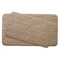 Bounce Comfort Turtle Shell Memory Foam 20-Inch x 32-Inch Bath Mats in Linen (Set of 2)