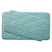 Bounce Comfort Turtle Shell Memory Foam 2-Piece Bath Mat Set in Aqua