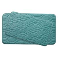 Bounce Comfort Turtle Shell Memory Foam 2-Piece Bath Mat Set in Blue
