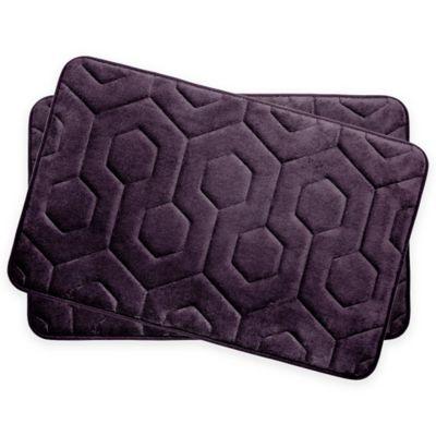 Bounce Comfort Hexagon Memory Foam 17 Inch X 24 Inch Bath Mats In Plum