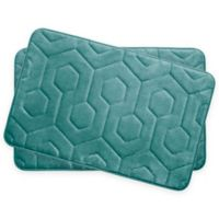 Bounce Comfort Hexagon Memory Foam 17-Inch x 24-Inch Bath Mats in Blue (Set of 2)
