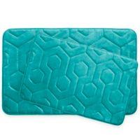 Bounce Comfort Hexagon Memory Foam 2-Piece Bath Mat Set in Turquoise