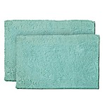 Resort Collection Chenille Plush Loop 2-Piece Bath Mat Set in Aqua
