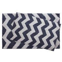 Jean Pierre Zigzag 2-Piece Reversible Cotton Bath Mat Set in Denim Blue