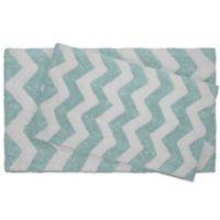Jean Pierre Zigzag 2-Piece Reversible Cotton Bath Mat Set in Aquatic Blue
