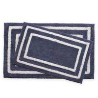 Jean Pierre Double Border 2-Piece Reversible Cotton Bath Mat Set in Denim Blue