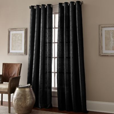 Manhattan 95 Inch Grommet Top Window Curtain Panel In Black