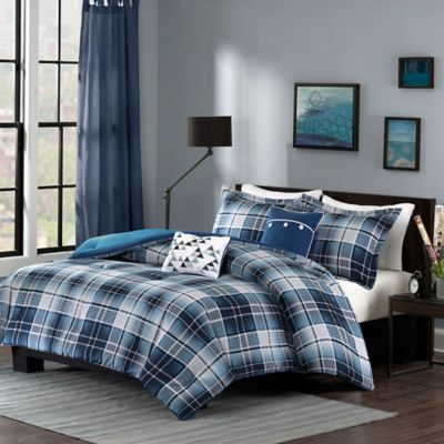 cunningham set cotton plaid nautica bookmark blue bedding sham htm comforter plain modern