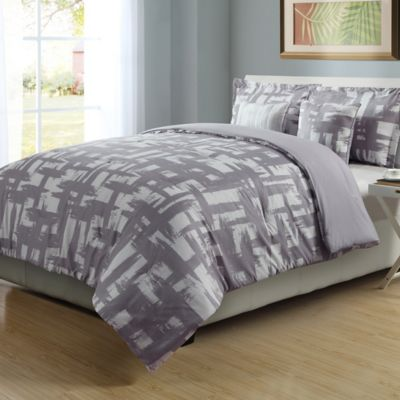 4 Piece Full/Queen Check Comforter Set In Lilac/White
