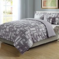 4-Piece Full/Queen Check Comforter Set in Lilac/White