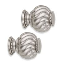 Cambria® Premier Complete Twist Ball Finials in Brushed Nickel (Set of 2)