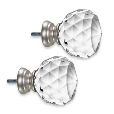 Cambria® Premier Complete Faceted Ball Finials in Brushed Nickel (Set of 2)