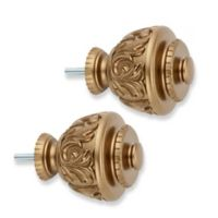 Cambria® Premier Complete Curvy Leaf Finials in Warm Gold (Set of 2)