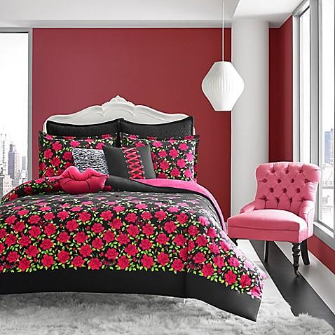 Betsey Johnson® Rose Garden Comforter Set In Black