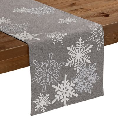 Sam Hedaya Bowery Snowflake 108 Inch Table Runner In Grey