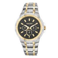 Armitron® Men's 54mm Black Multi-Function Watch in Two-Tone Stainless Steel