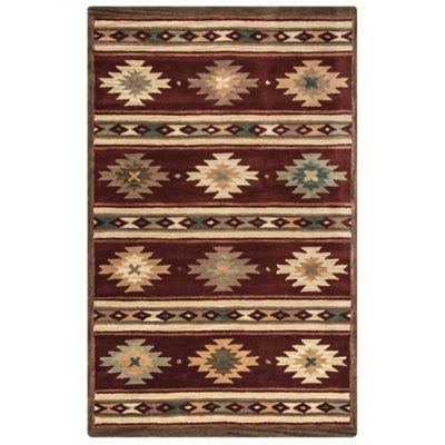 Rizzy Home Southwest Stripe 5 Foot X 8 Foot Area Rug In Burgundy