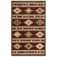 Rizzy Home Southwest Stripe 5-Foot x 8-Foot Area Rug in Burgundy