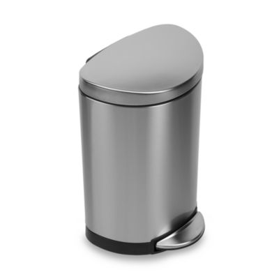 Simplehuman Brushed Stainless Steel Fingerprint Proof Semi Round 10 Liter Step