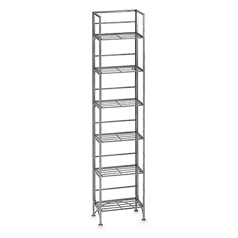 Metal 6 Shelf Folding Media Tower Bed Bath Amp Beyond