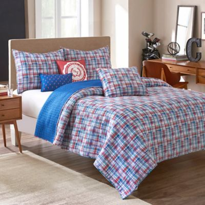 bunkhouse quilting img geissler and sunny blue cabin red pantograph daze white quilt in quilts the by log debra