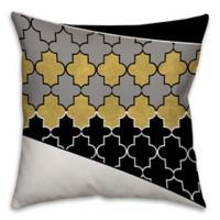 Quatrefoil Pattern Square Throw Pillow in Cream