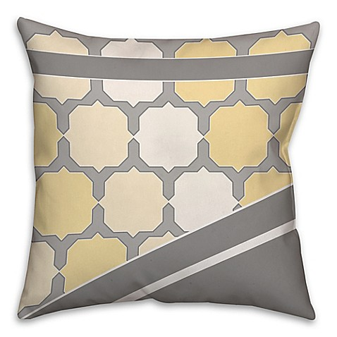Yellow Throw Pillows Bed : Jagged Octagon Pattern Square Throw Pillow in Yellow/Grey - Bed Bath & Beyond