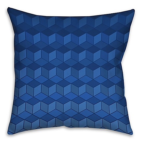Geometric Cube Pattern Throw Pillow In Navy Bed Bath