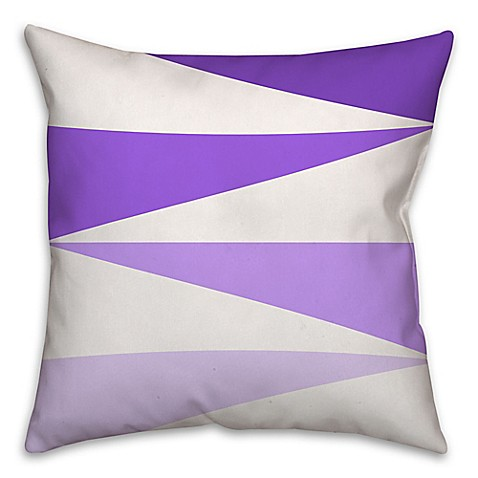 Color Block Triangles Square Throw Pillow in Purple/White - Bed Bath & Beyond