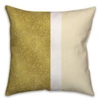 Glitter Color Block Square Throw Pillow in Cream/Gold