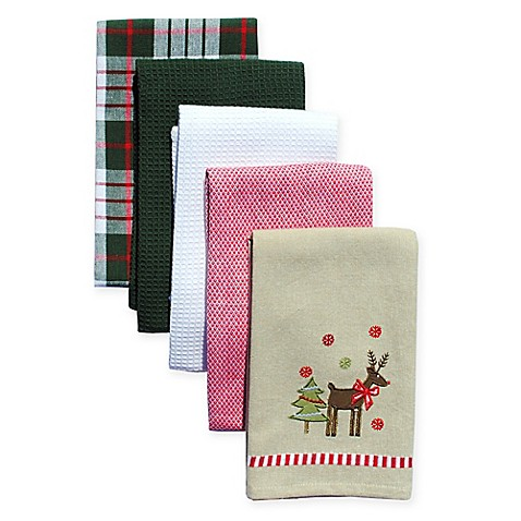 Holiday Reindeer 5 Pack Kitchen Towels Bed Bath Beyond