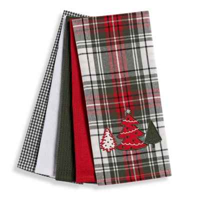Holiday Plaid 5-Piece Kitchen Towel Set