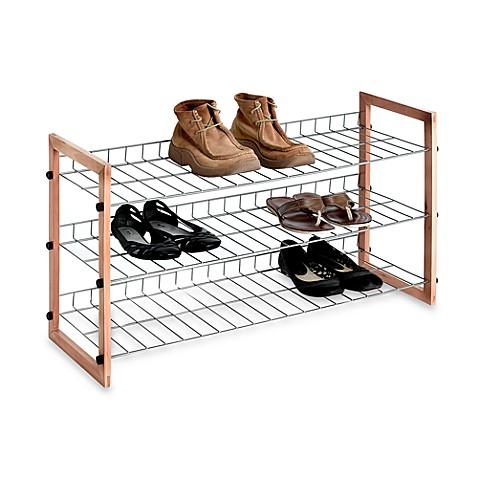 3 Shelf Wooden Metal Shoe Rack Bed Bath Amp Beyond