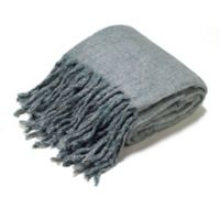 Aura Reversible Wool Blend Throw Blanket in Mineral Blue