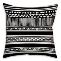 Boho Tribal Square Throw Pillow in Black/White