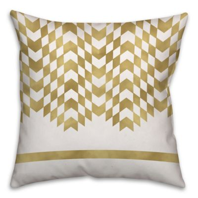 Alternating Chevron Square Throw Pillow In Cream/Gold