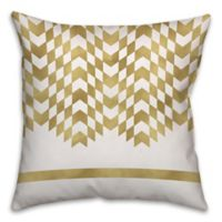 Alternating Chevron Square Throw Pillow in Cream/Gold