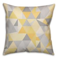 Triangles Pattern Square Throw Pillow in Yellow/Grey