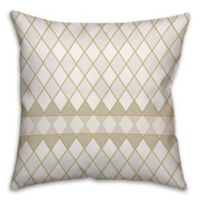Diamond Pattern Square Throw Pillow in Cream/White
