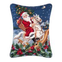 Santa Riding a Horse Needlepoint Throw Pillow