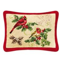 Hand-Stitched Piped Cardinal and Finch Needlepoint Throw Pillow