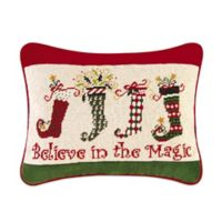 """Believe in the Magic"" Dancing Christmas Stocking Oblong Throw Pillow"