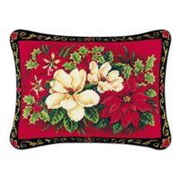 Magnolias and Pointsettia Needlepoint Throw Pillow