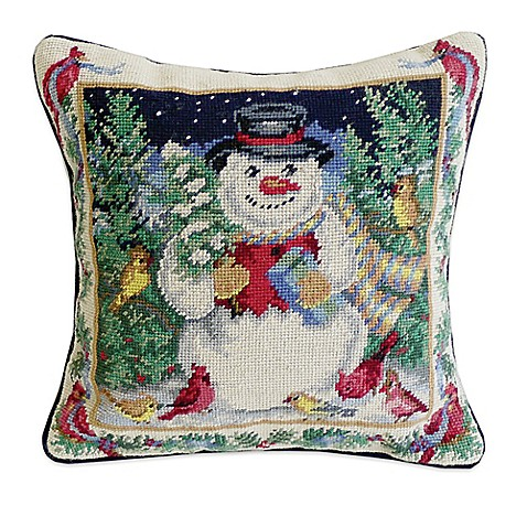 Snowman with Cardinals Needlepoint Throw Pillow - Bed Bath & Beyond