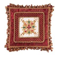 Yuletide Needlepoint Square Throw Pillow