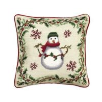 Cottage Christmas Snowman Square Throw Pillow