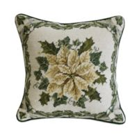 Ribbons and Pointsettia Needlepoint Throw Pillow