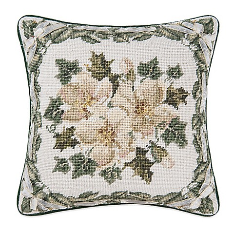 Magnolia Christmas Ribbon Throw Pillow - Bed Bath & Beyond