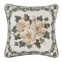 Magnolia Christmas Ribbon Throw Pillow